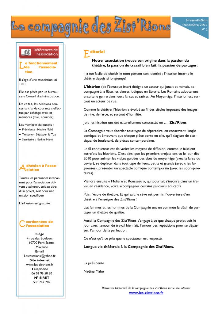 Presentation des ZistRions - 2011 12 Page 1